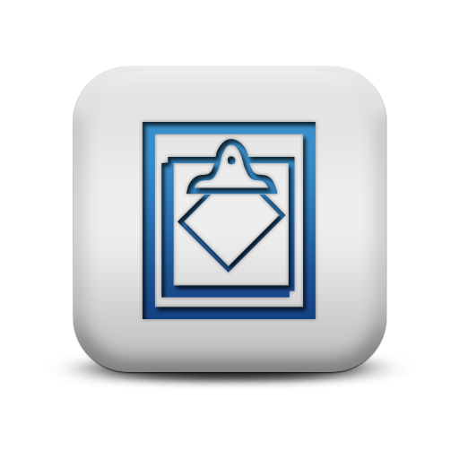 116885 matte blue and white square icon business clipboard